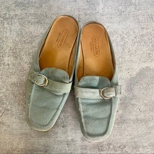 Coach Blue Mule Flats Suede Leather AS IS